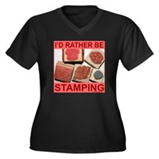 STAMPING Women's Plus Size V-Neck Dark T-Shirt