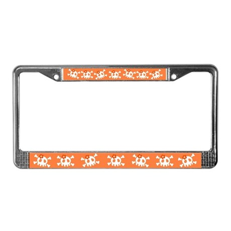 Orange Skull License Plate Frame