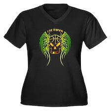 LT Basketball Tribal Skull Women's Plus Size V-Nec