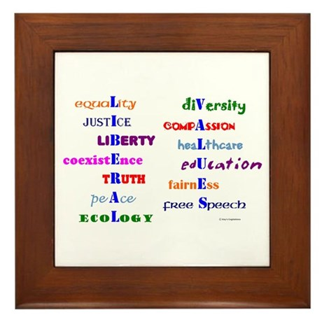 Liberal Moral Values Defined Framed Tile