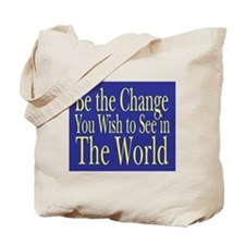 Be the Change (blue) Tote Bag