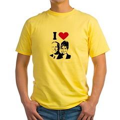 I Love Mccain Palin Yellow T-Shirt