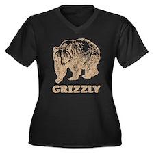 Vintage Grizzly Women's Plus Size V-Neck Dark T-Sh