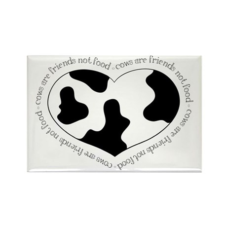 Cow Print Heart Rectangle Magnet