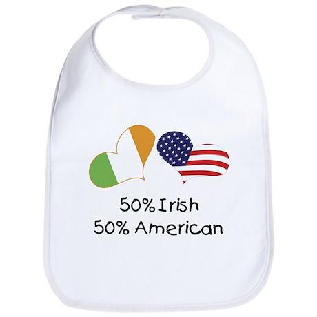 50% Irish 50% American (Hearts) Bib