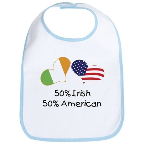50% Irish 50% American (Hearts) Bib