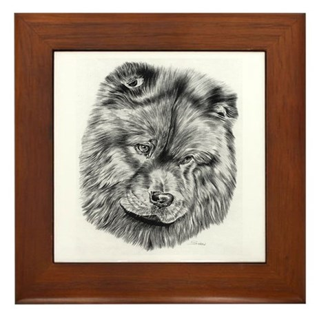 Chow Chow Pencil Drawing Framed Tile