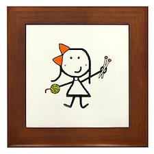 Girl & Knitting Framed Tile