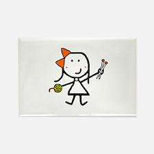 Girl & Knitting Rectangle Magnet
