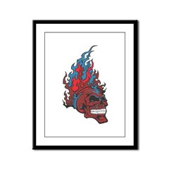 Blood Fire Skull Framed Panel Print
