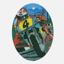 Cute Xmas motorcycle Oval Ornament