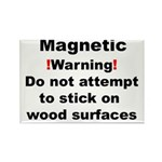 Wood Warning Rectangle Magnet