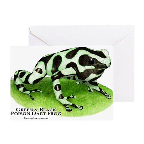 Green & Black Poison Dart Fro Greeting Cards (Pk o