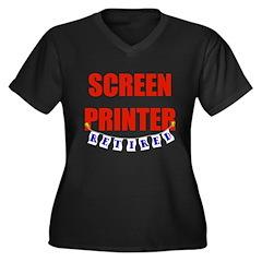 Retired Screen Printer Women's Plus Size V-Neck Da