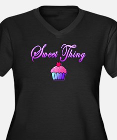 Sweet Things Women's Plus Size V-Neck Dark T-Shirt