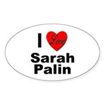 I Love Sarah Palin Oval Sticker (10 pk)
