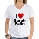 I Love Sarah Palin (Front) Women's V-Neck T-Shirt