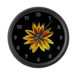 Yellow Daisy on Black Large Wall Clock