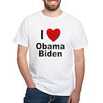I Love Obama Biden (Front) White T-Shirt