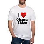 I Love Obama Biden Fitted T-Shirt