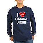 I Love Obama Biden (Front) Long Sleeve Dark T-Shir