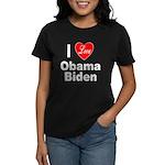 I Love Obama Biden (Front) Women's Dark T-Shirt