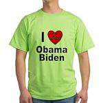 I Love Obama Biden (Front) Green T-Shirt