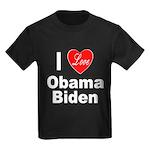 I Love Obama Biden (Front) Kids Dark T-Shirt