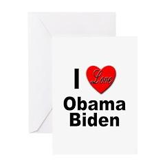 I Love Obama Biden Greeting Card