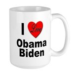 I Love Obama Biden Large Mug