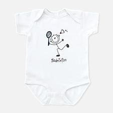 Stick Figure Badminton Infant Bodysuit