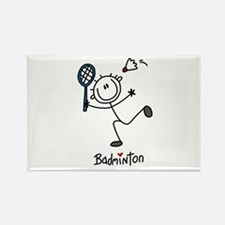 Stick Figure Badminton Rectangle Magnet (10 pack)