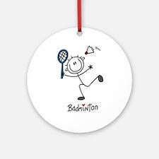 Stick Figure Badminton Ornament (Round)