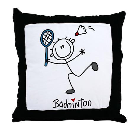 Stick Figure Badminton Throw Pillow