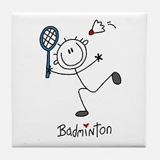 Stick Figure Badminton Tile Coaster