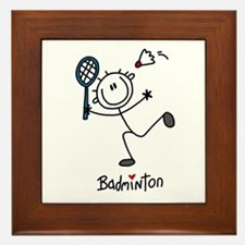 Stick Figure Badminton Framed Tile