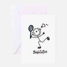 Stick Figure Badminton Greeting Card