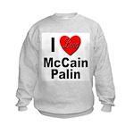 I Love McCain Palin (Front) Kids Sweatshirt