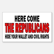 Here come the Republicans Rectangle Decal