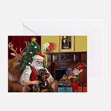 Santa's Rottweiler Greeting Cards (Pk of 10)