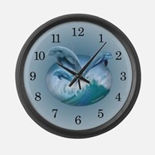 Waves of Dolphins Large Wall Clock