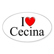 """I Love (Heart) Cecina"" Oval Decal"