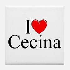 """I Love (Heart) Cecina"" Tile Coaster"