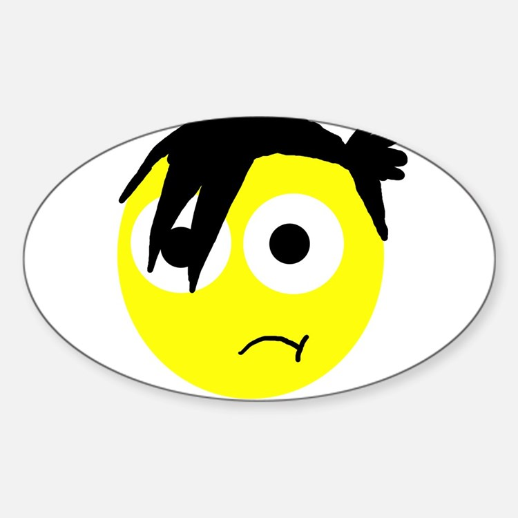 emo smiley Oval Decal
