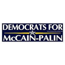 Democrats for McCain Palin Bumper Bumper Sticker