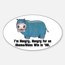 Hungry Hippo for Obama Oval Decal