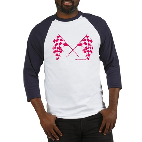 Pink Crossed Checkered Flags Baseball Jersey