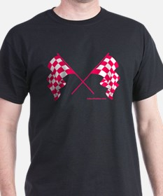 Pink Crossed Checkered Flags T-Shirt