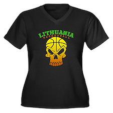 Lithuania Basketball Women's Plus Size V-Neck Dark
