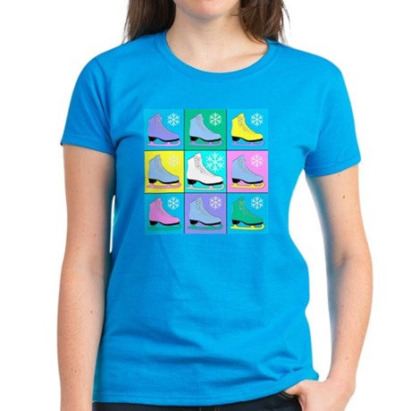 Frosty Colors Ice Skates Women's Dark T-Shirt
